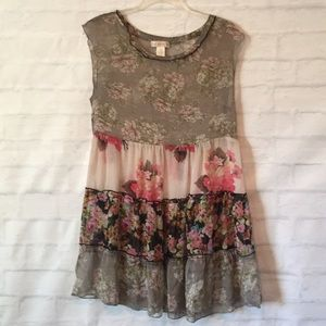 Band of Gypsies sheer floral tiered tunic sz S